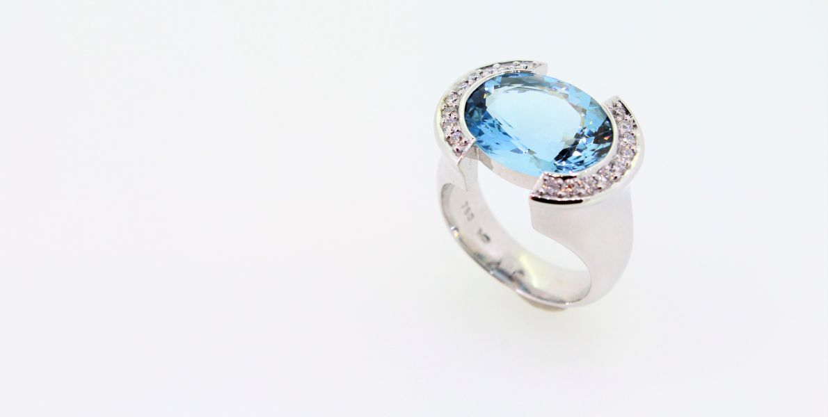 Aquamarin Brillant Ring