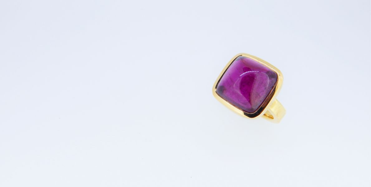 Rubellith Cabochon Ring